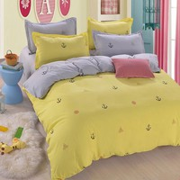 Hot Yellow Seafaring Printd Bedding Set Cotton Duvet Cover Single Double King Size Home Textile Soft Quilt Pillowcases Bed Sheet