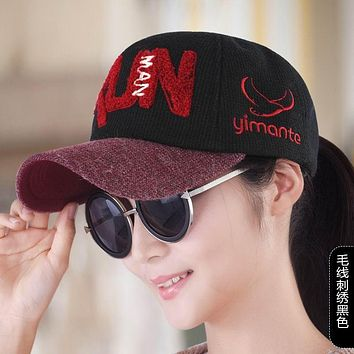 Baseball cap female spring and autumn hat embroidery women's cap knitted hat casual hat autumn sun hat fashion warm visor