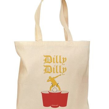 Dilly Dilly Funny Beer Grocery Tote Bag - Natural by TooLoud