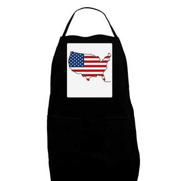 United States Cutout - American Flag Design Panel Dark Adult Apron by TooLoud
