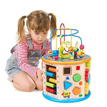 8 in 1 Wooden Activity Cube Bead Maze Multi-purpose Educational Toys for 1 Year Old Boys Girls Kids Activity Center
