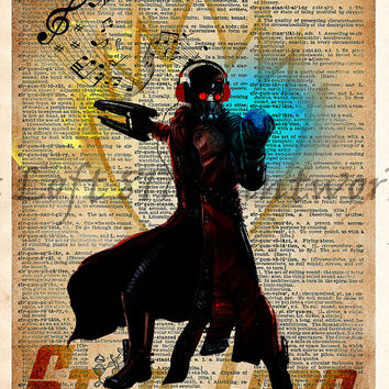 Star Lord - Guardians of the galaxy wall art - Super hero pop art  - Dictionary print art