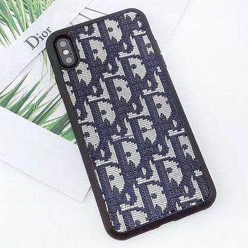 DIOR Fashion New Embroidery More Letter Women Men Phone Case Protective Cover
