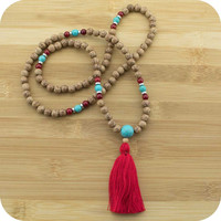 Palmwood Meditation Mala Beads Necklace with Turquoise Magnesite & Red Bamboo Coral