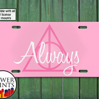 Pink Always Harry Potter Inspired Deathly Hallows Symbol Cute Accessory For Front License Plate Car Tag One Size Fits All Vehicle Custom