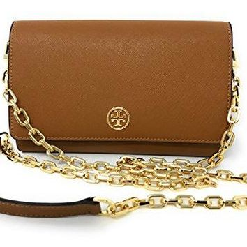 Tory Burch 36905 202 Robinson Chain Wallet Tiger's Eye Saffiano Leather Gold-Tone Hardware Crossbody Handbag