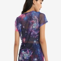 Galaxy Print Girls Mesh T-Shirt