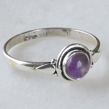 Amethyst Ring, Sterling Silver Ring, Amethyst Stone, Gemstone Ring, Sterling Ring, Girls Rings , Simple Ring, Baby Ring,Amethyst