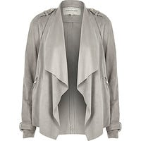 Grey faux suede waterfall biker jacket