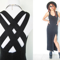 Vintage 80's 90's black grunge cross back stretchy industrial club kids goth cocktail party gown punk maxi Medium