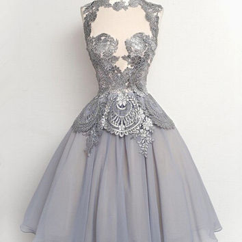 Grey High-neck Prom Dresses/Homecoming Dress
