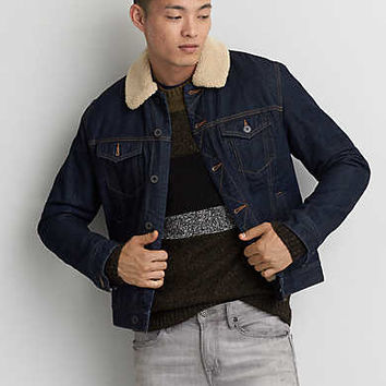 AEO Faux Sherpa Lined Denim Jacket, Dark Rinse