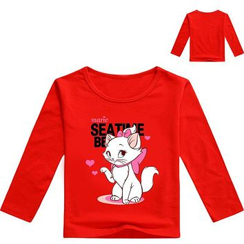 Z&Y 3-16Years Baby Boy 2017 Long Sleeves Cat Marie Aristocats Plush Baby Girl Sweatshirt Kids T Shirt T-shirt Long Sleeve Kids