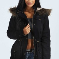 Alia Parka With Chunky Faux Fur Trim Hood