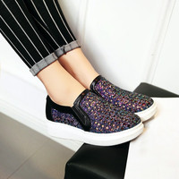 Glitter Cutout Loafers Slip-on Shoes 3066