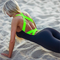 Hot sale Europe and America the new summer 2016 gym fitness clothing suit for women Leak back jumpsuits sports yoga sets