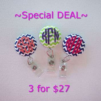 Retractable ID Badge Holder Reel  - Fabric Button -  Chevron with monogram 3 circle initial custom - your choice 3 for 27
