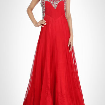 Red color maxi gown