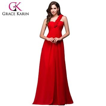 Grace Karin Cheap One Shoulder Long Red Bridesmaid Dresses Chiffon Empire Floor Length Flower Lace Up Back Prom Dress H3402