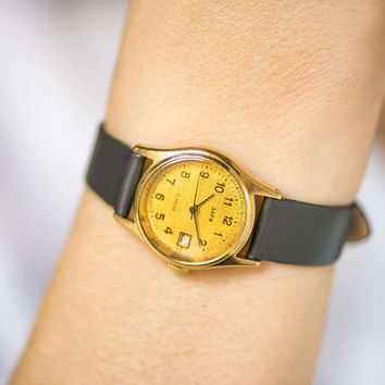 Minimalist women's watch vintage. Gold plated lady watch Zaria\Dawn. Ornamented face watch round for girl gift. New premium leather strap