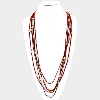 Burgundy & Gold round disc station multi-strand suede necklace