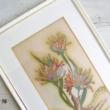 Vintage Original Handpainted Flowers Silk Painting Picture, Modern Floral Pastel Original Framed Painting, shabby Romantic Spring Decoration
