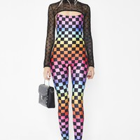 Rainbow Checkerboard Square Neck Catsuit