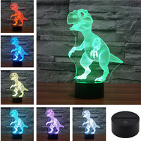 Ai World USB Acrylic Colorful Diosaur Nightt Office LED Table Lamp Christmas Gift 3D-TD114+120