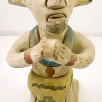Flowers And Songs Of Sorrow:Vintage Mexican Folk Art Clay Figurine