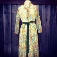Vintage Maxi Dress with Ruffled High Collar, Miss Elliette California, Long Sleeve, Sheer Spring Floral Overlay, Size 16, circa 1960s