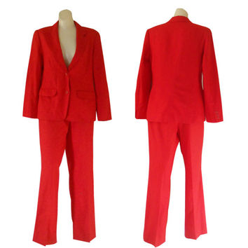 Red Christmas Suit Ladies Red Suit Women Pant Suit Christmas Blazer Red Blazer Pendleton Wool Blazer Red Wool Pants Women Wool Suit 70s