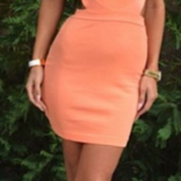 Halter Neck Cut Out Back Homecoming Dress