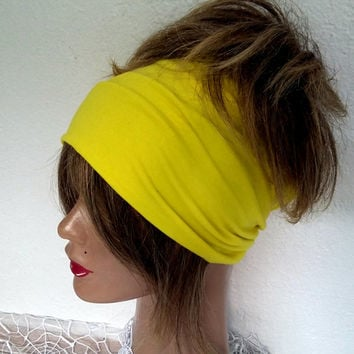 Fabric Head, Boho Scarf, Yellow Hair Band, Yoga President, Wide Headband, Head of a Woman, Bandana, Hippie President, Cotton Head Wrap