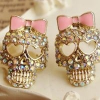 Cute Shinning Rhinestones with Skull and Bow Pattern Earrings [513]