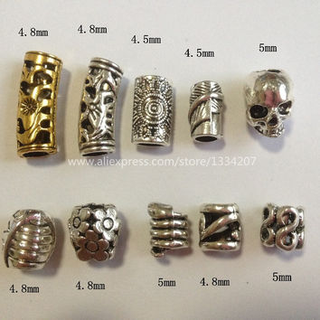 Free shipping 10Pcs/Lot mix metal set for hair braid dread dreadlock beads clips cuff approx 4.5-5mm hole