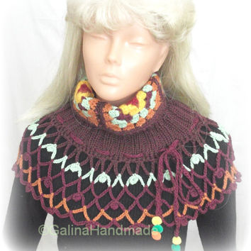 Crochet Knit Hat Slouchy Beanie Neck Warmer Cape Poncho Multicolor With PomPoms With Granny Squares