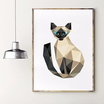 Triangle Polygonal Stile Siamese Kitten Art Print Wall Pictures