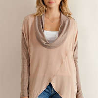 Cowl Neck Wrapped Top - Melange Brown