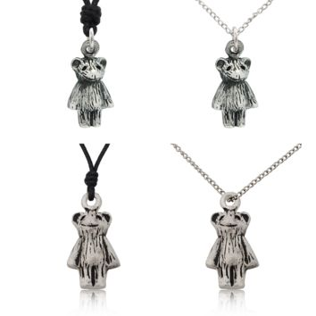 Teddy Bear Doll Sterling-silver Pewter Charm Necklace Pendant Jewelry