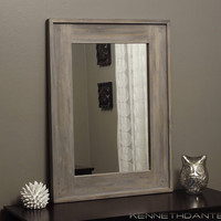 Bathroom Mirror Wood Distressed Driftwood Weathered Natural Whitewash Taupe