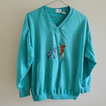 V Neck Sweatshirt Golf 90s Vintage Oversized L