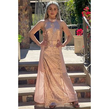 True Love Rose Gold Pink Sequin Halter Maxi Dress