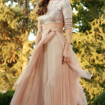 Vestidos De Novia 2015 Vintage A-line Evening Dress Prom Party Gowns Sequined Empire Top Formal Prom Dresses with Long Sleeves
