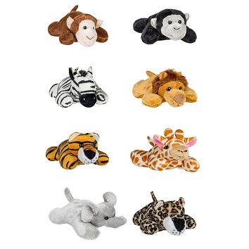"8 Pack Jungle Safari Mini 4"" Small Stuffed Animals, Variety of Zoo Animal Toys, Party Favors for Kids"