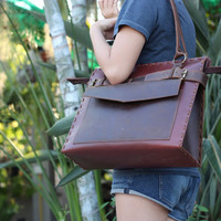 Handmade Two Tone Crimson Brown Leather Purse