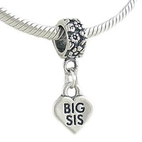 Silver BIG SIS Sister Bead CHARM fits European Cable Bracelet