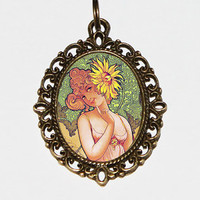 Sunflower Goddess Necklace, Art Nouveau, Sunflower Woman, Bohemian, Sunflower Jewelry, Oval Pendant