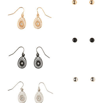 Stud & Teardrop Hook Earring 6-Pack