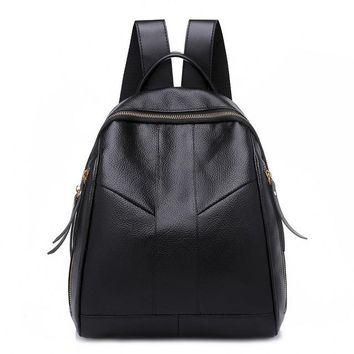School Backpack trendy OTHERCHIC Simple Stylish Women Black Backpacks PU Faux Leather School Bags Casual Daypack Knapsack Earphone Plug Mochila 8N06-13 AT_54_4