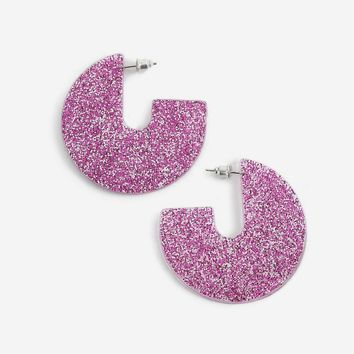 **Trapped Glitter Hoop Earrings